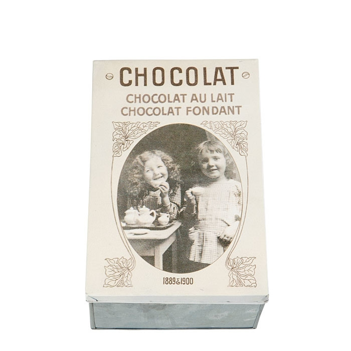 Tin box with two girls and inscription chocolate 21 x 32 h12 cm