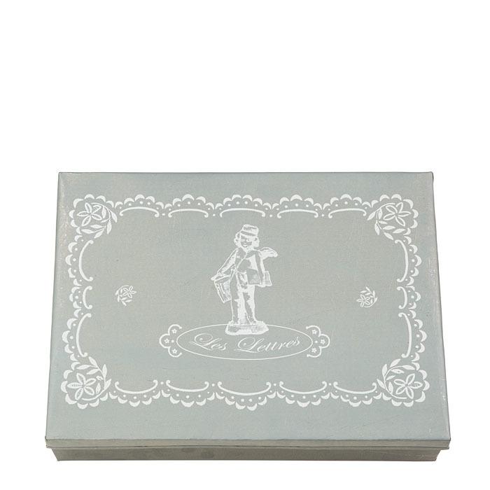 Box in latta chiara con scritta les lettres 24 x 32 h7 cm