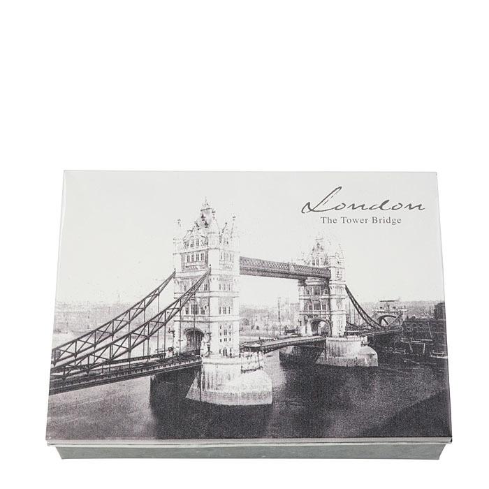 Tin box picture tower bridge and inscription london 24 x 32 x 7 cm