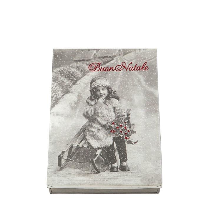 Box latta foto bimba e scritta glitter buon natale 24 x 32 h7 cm