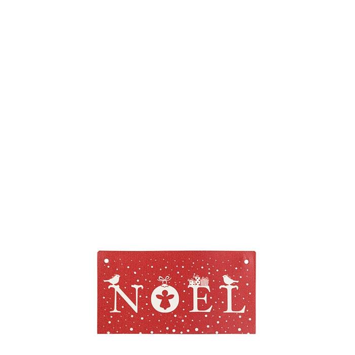 Tin tablet noel red background 9 x 17 cm