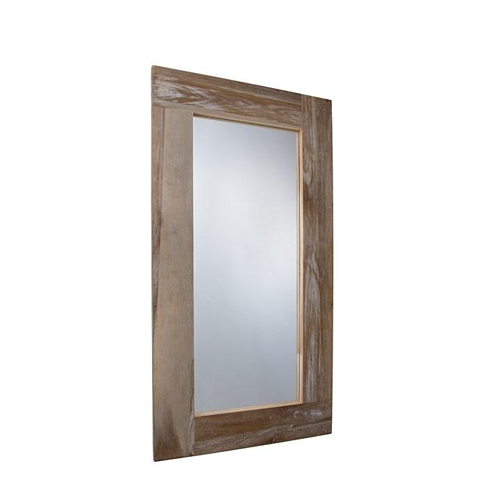 Miroir avec corniche en bois coupe oblique