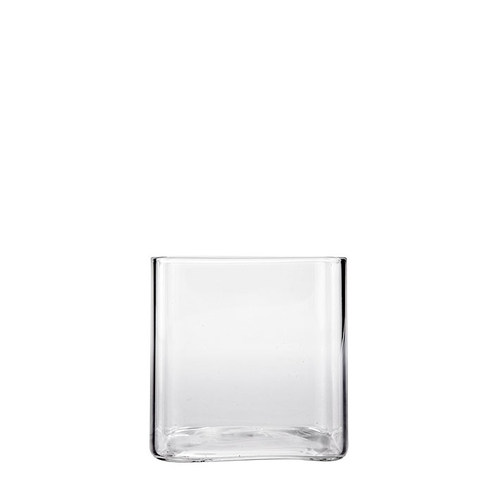 Squared borosilicate glass vase 8 x 8 h8 cm