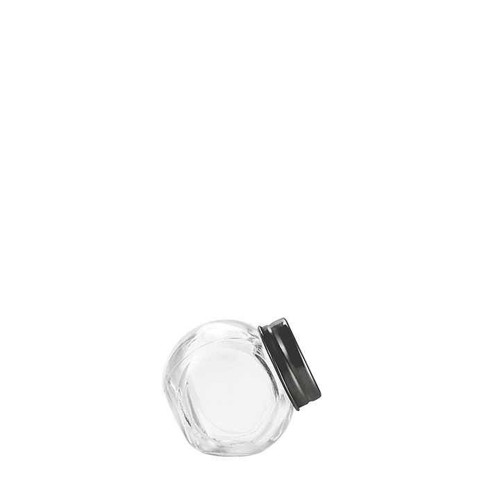 Barattolo inclinabile vetro tappo latta nero opaco v50 ml d5 h5 cm