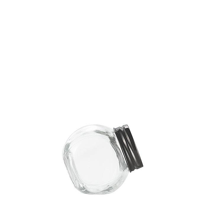 Barattolo inclinabile vetro tappo latta nero opaco v100 ml d6 h6 cm