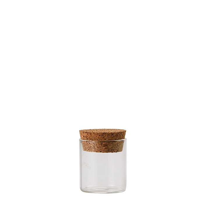 Glass phial with cork