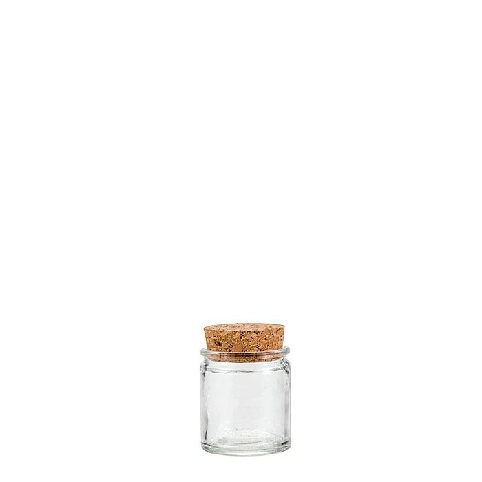 Barattolo in vetro spesso con tappo in sughero d4 h6 cm