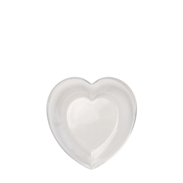 Piatto in vetro a forma di cuore 20 x 19.5 h3 cm