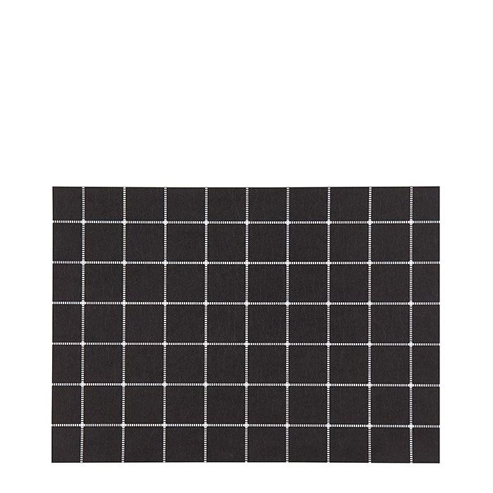 Black cellulose fiber placemat with white lattice 31.5 x 47 cm