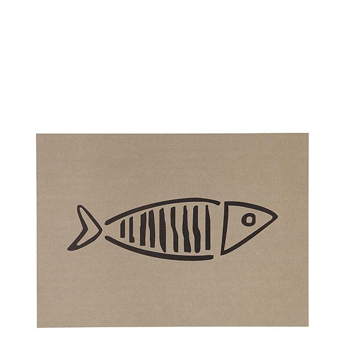 Cellulose fiber placemat linen with black fish 31.5 x 47 cm