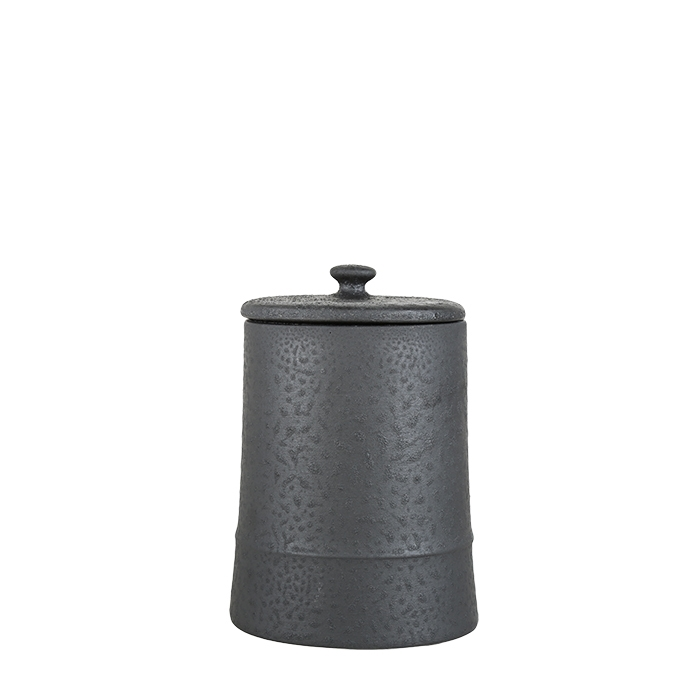 Biscottiera in terracotta colore nero d13 h21 cm