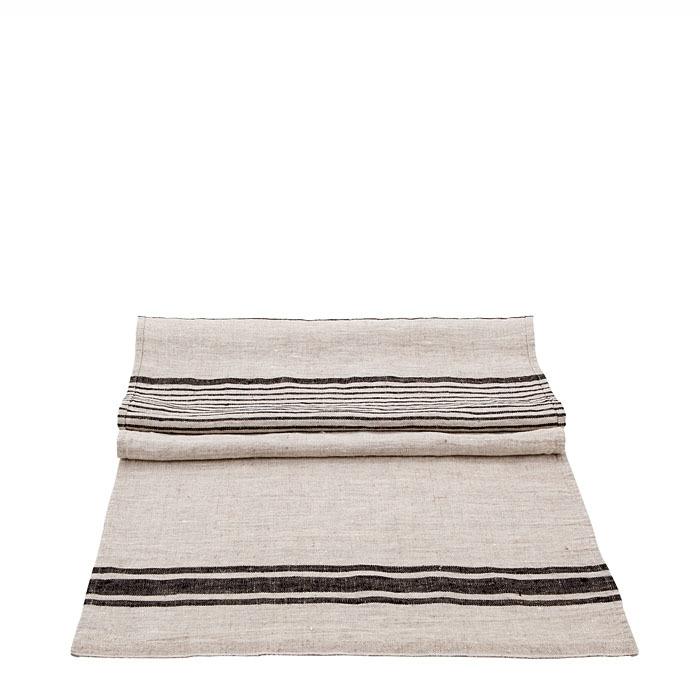 Runner 100% lino naturale e nero bande larghe 45 x 140 cm