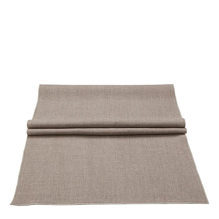 Chemin de table lisse 100% lin bord nat. 50 x 160 cm