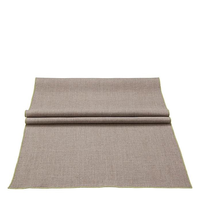 Chemin de table lisse 100% lin bord vert 50 x 160 cm