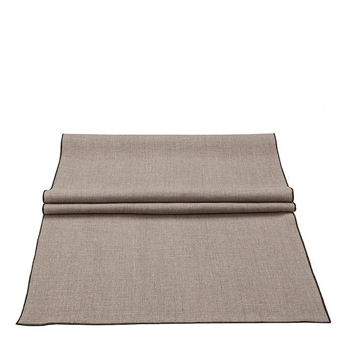 Chemin de table bistrot lisse 100%lin bordure 120 x 50 cm