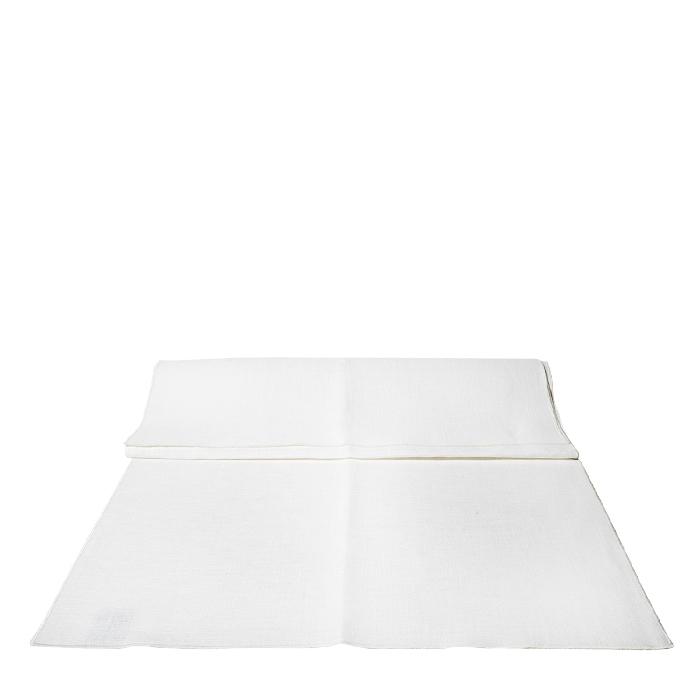 White bistrot 100%linen runner with white edge 120 x 50 cm