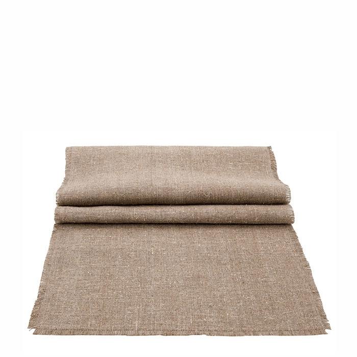 100% natural raw fringed linen runner 47 x 160 cm