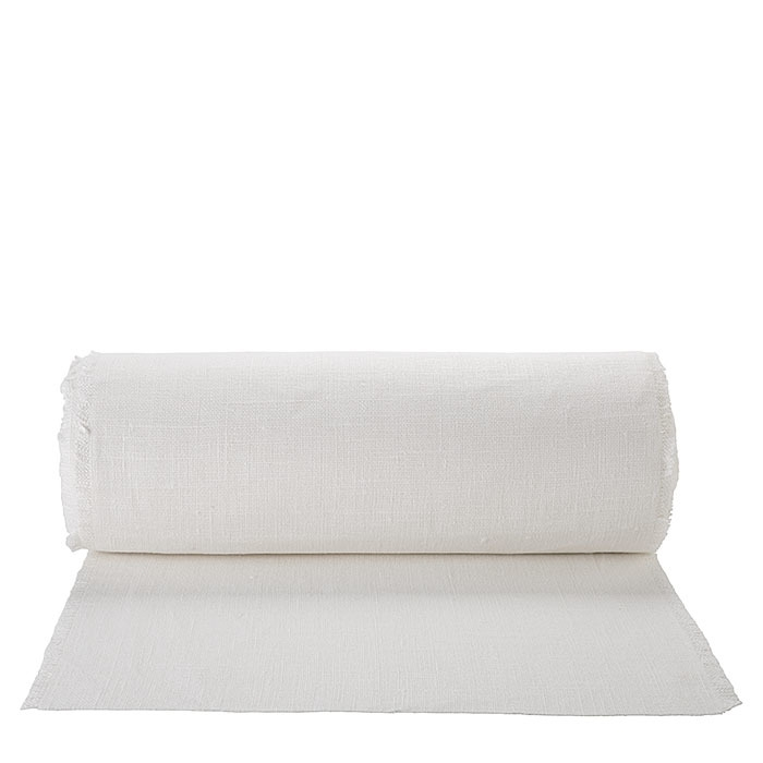 100% white raw fringed linen roll 50 x 2500 cm