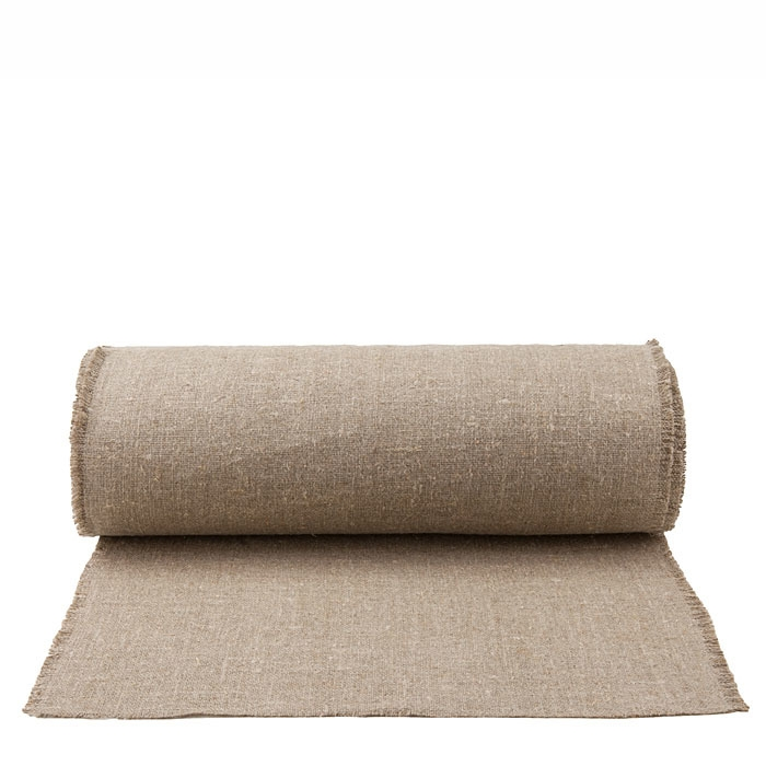 100% natural raw fringed linen roll 50 x 2500 cm