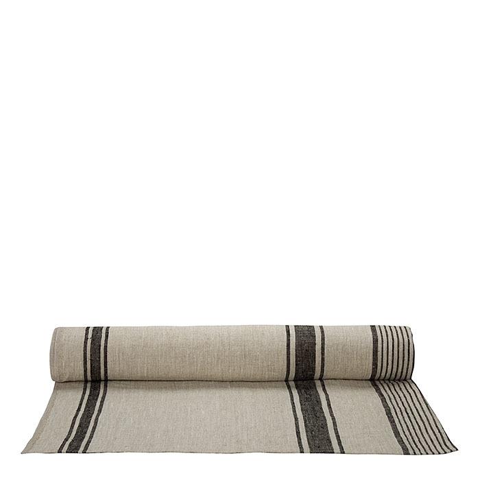 100% natural/black raw linen roll 140 x 2000 cm