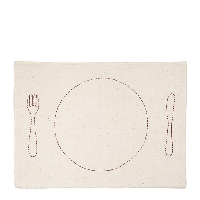 Placemat with cross-hatching brown color 32 x 45 cm