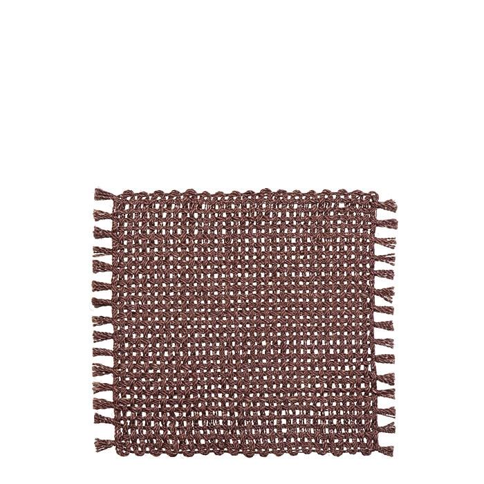 Set de table rigide franges couleur bordeaux 32 x 32 cm