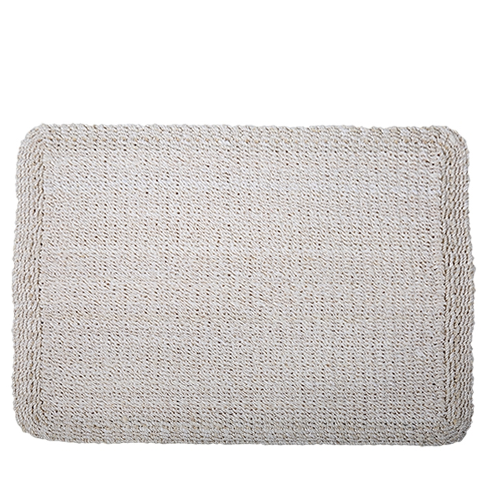 Thick interwowen abaca placemat white color 39 x 49.5 cm