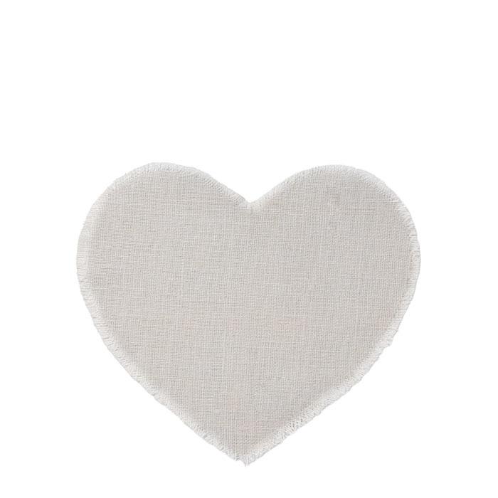 100% cream raw linen heart underplate h31 cm