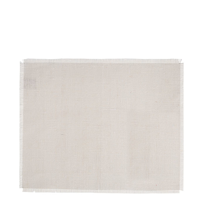 100% white raw fringed linen tablemat 35 x 48 cm