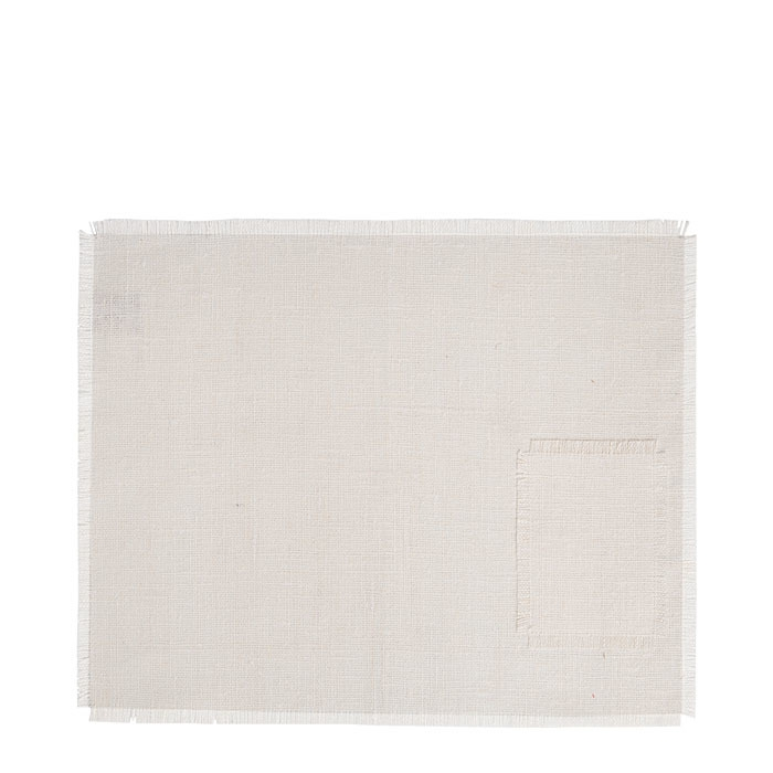 100% white raw linen place mat with pocket 35 x 48 cm