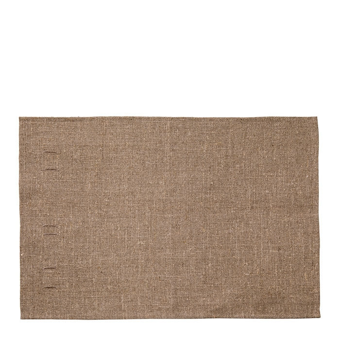 100% natural col. raw linen place mat with holes 35x55 cm
