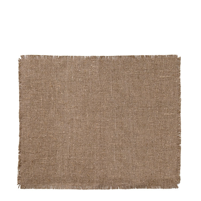 100% natural colour raw fringed linen tablemat 35 x 48 cm