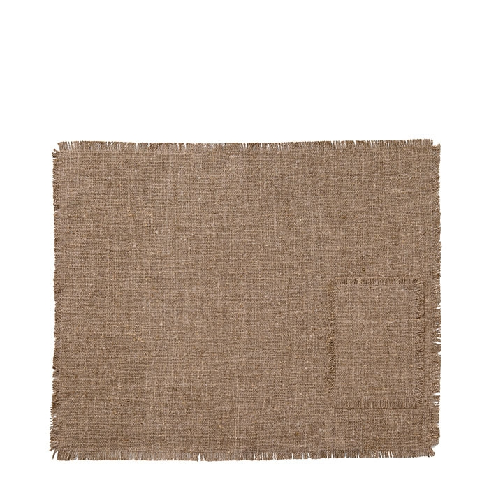 100% nat. fringed raw linen tablemat with pocket 35 x 48 cm