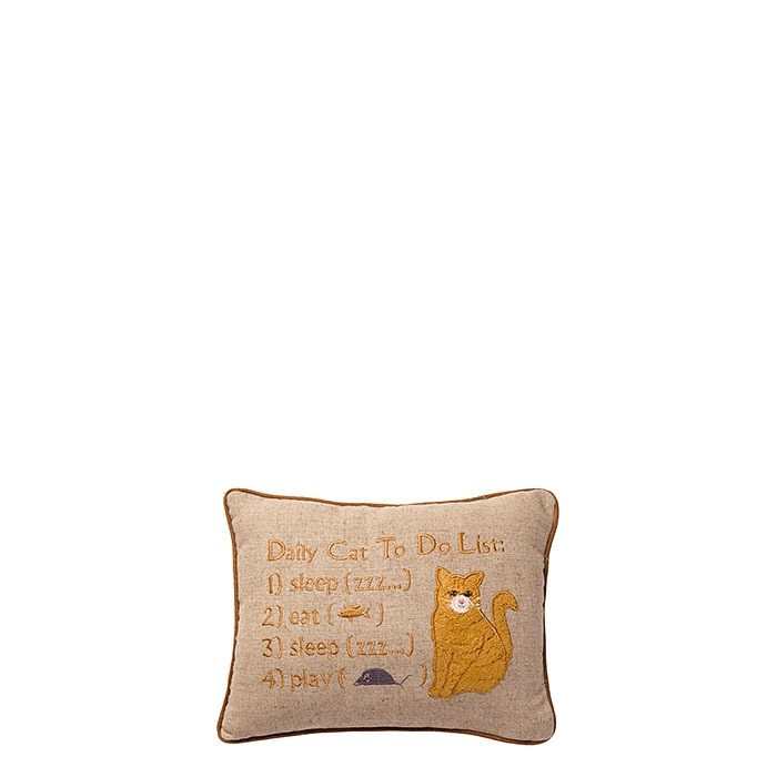 Daily cat to do list throw pillow 16 x 22 cm
