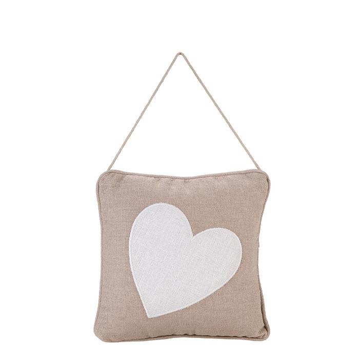 Cuscino con cuore bianco 20 x 20 cm