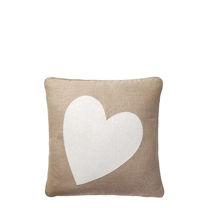 Cuscino con cuore bianco 40 x 40 cm