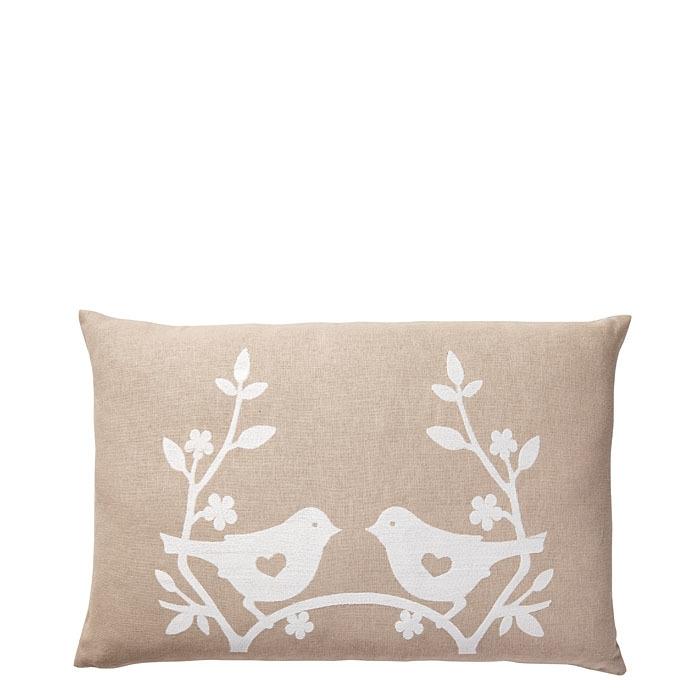 Cuscino colore lino con uccellini bianchi 40 x 60 cm