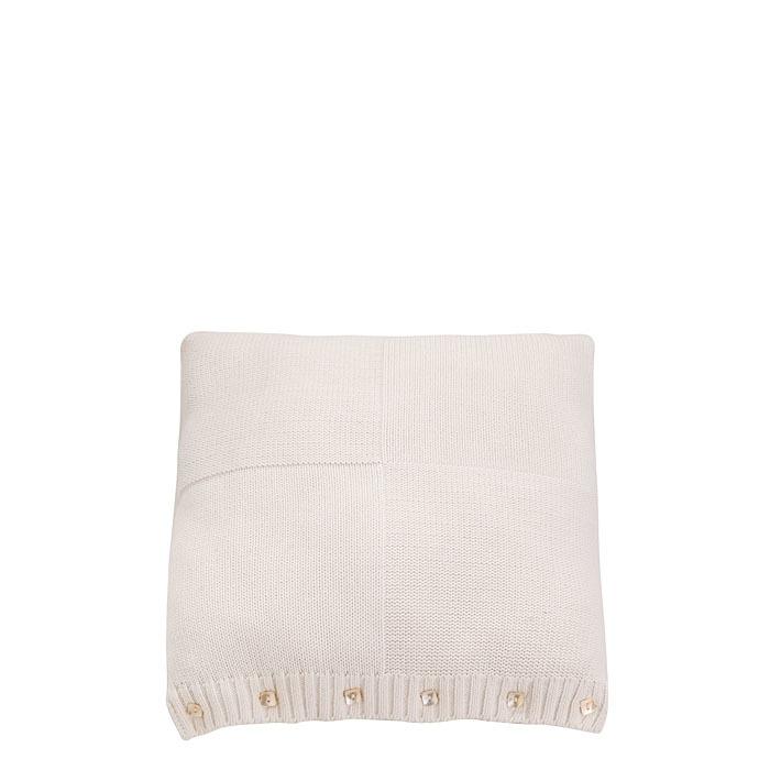 Fodera quadrata in cotone colore bianco e bottoni 35 x 42 cm