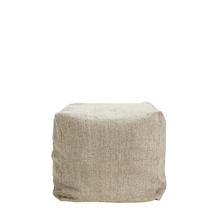 Cubo 100% lino grezzo02 naturale con imbottitura 50 x 50 h50 cm