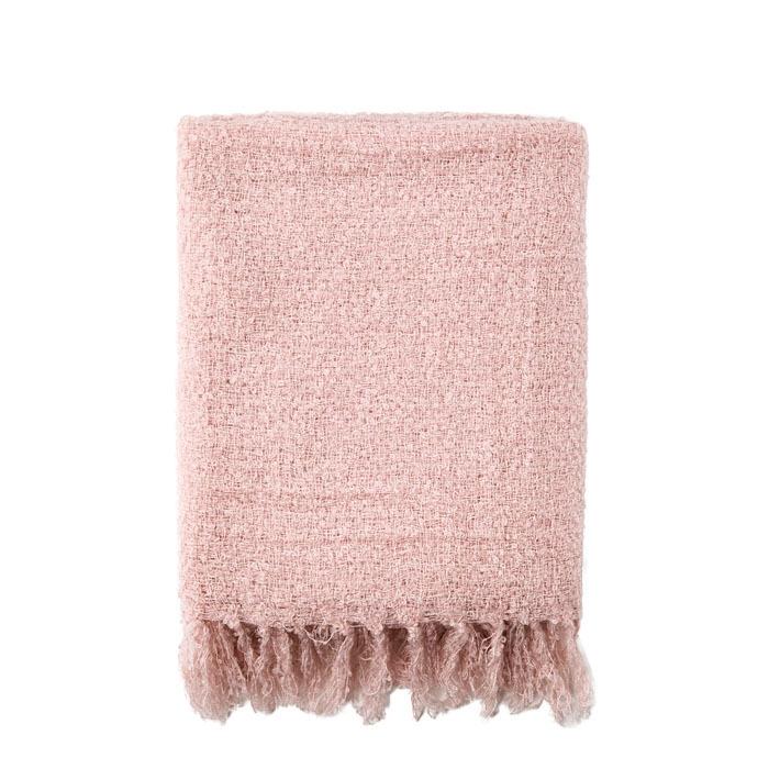 Pink boucle blanket 125 x 150 cm