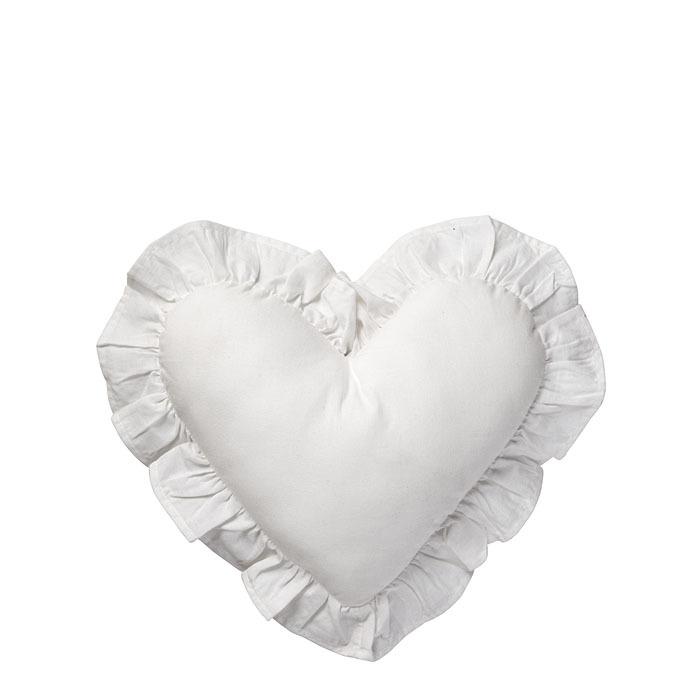 Cuscino in cotone bianco a forma di cuore e volant 38 x 40 cm