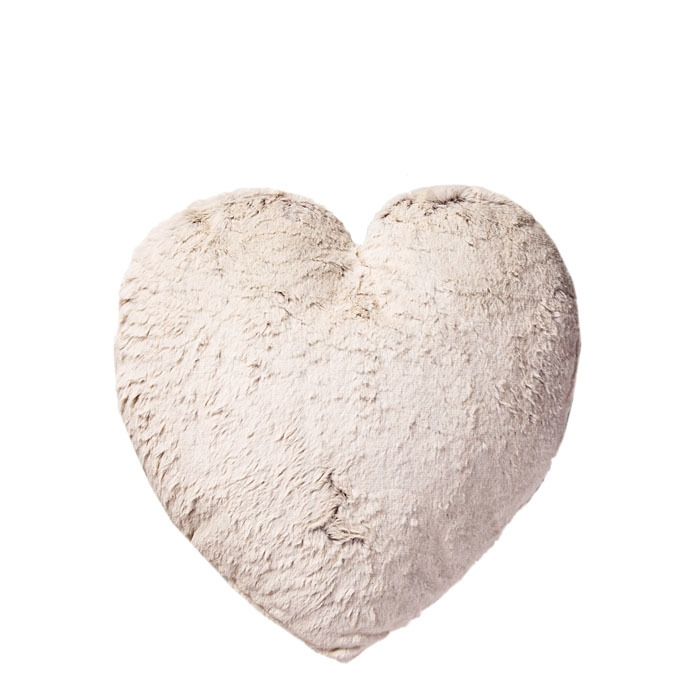 Cuscino a forma cuore con tessuto e pelo ecologico 40 x 40 cm