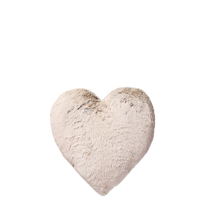 Cuscino a forma cuore con tessuto e pelo ecologico 30 x 30 cm
