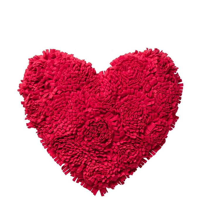Cuscino a forma di cuore in pile rosso con frange d48 cm