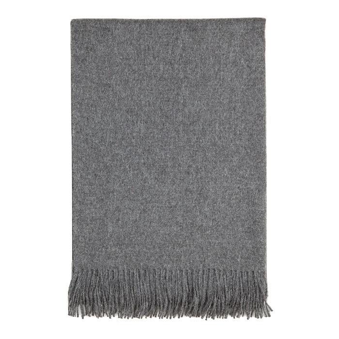 Coperta(100% bb alpaca)colore grigio con frange 128 x 176 cm