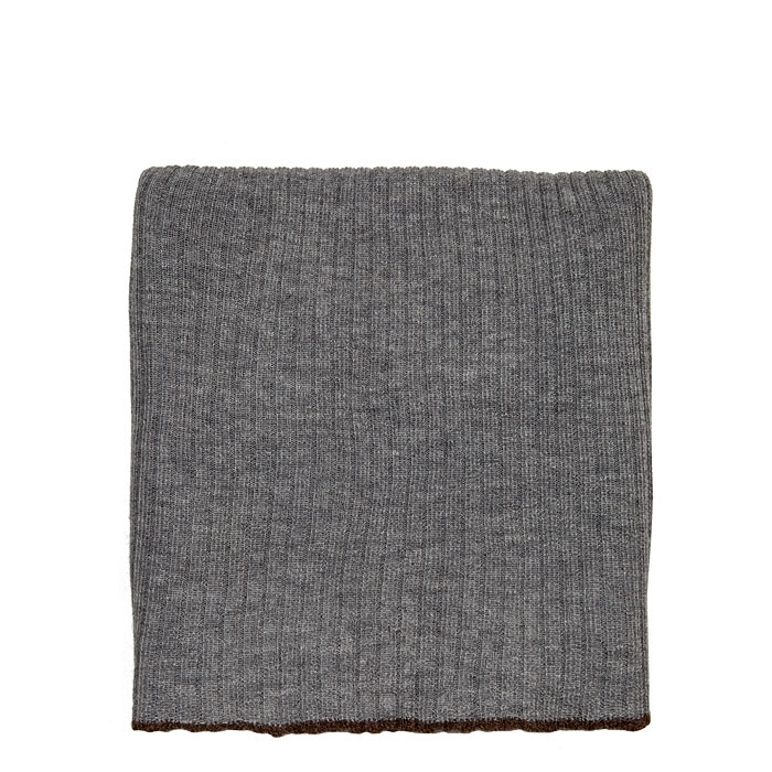 Grey 100% blanket with brown hem 120 x 160 cm