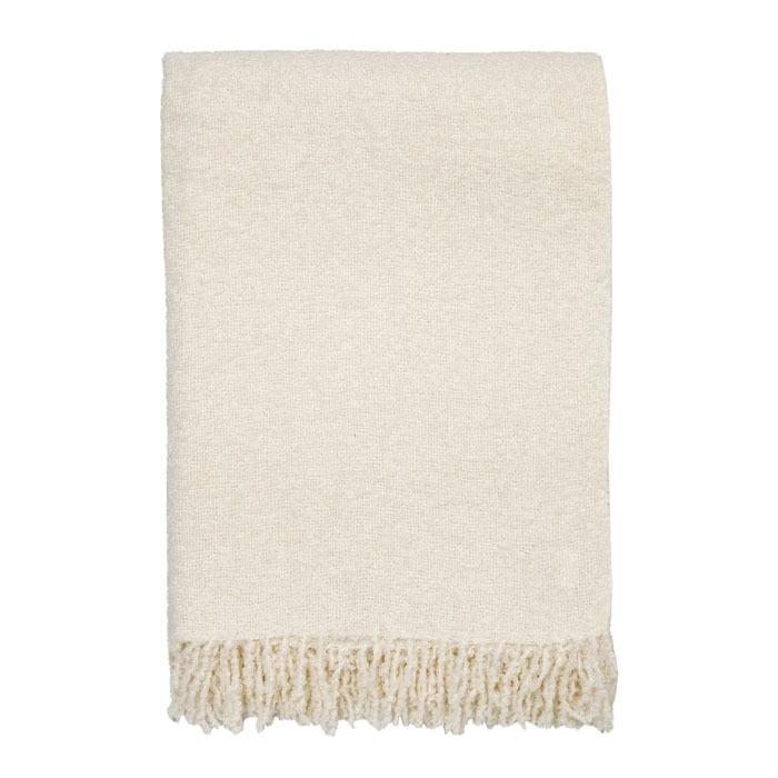 Cream alpaca blanket with fringes 130 x 180 cm