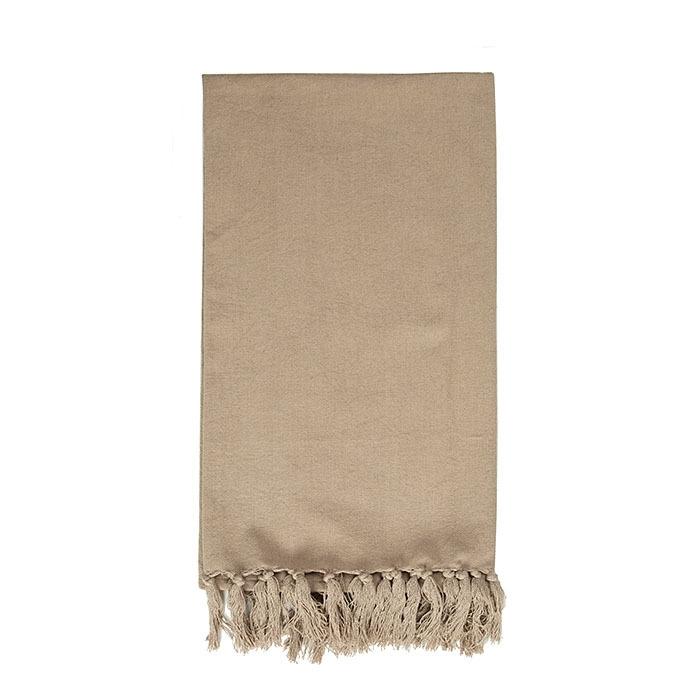 100% cotton bedspread with fringes colour linen 275 x 275 cm