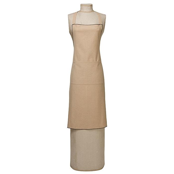 Tablier coton avec couture noire et poche centrale