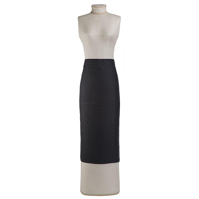 100% linen black apron for man